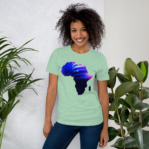 Front of Lady wearing African American T-Shirt Unisex. Prism Mint shirt has an outline of Africa. Outline is filled in with a pic of the American Flag.