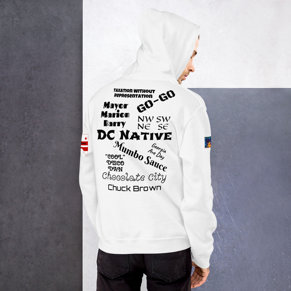 D.C. Raised Me Unisex Hoodie (flag on sleeve)