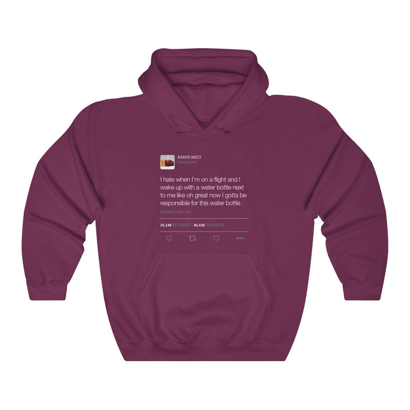 I Hate When I'm On A Flight And... - Kanye West Tweet Inspired Unisex Hooded Sweatshirt-Maroon-S-Archethype