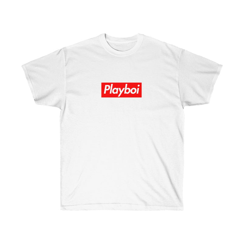 Playboi Red Box Logo Unisex Tee - Payboi Carti Inspired-White-S-Archethype