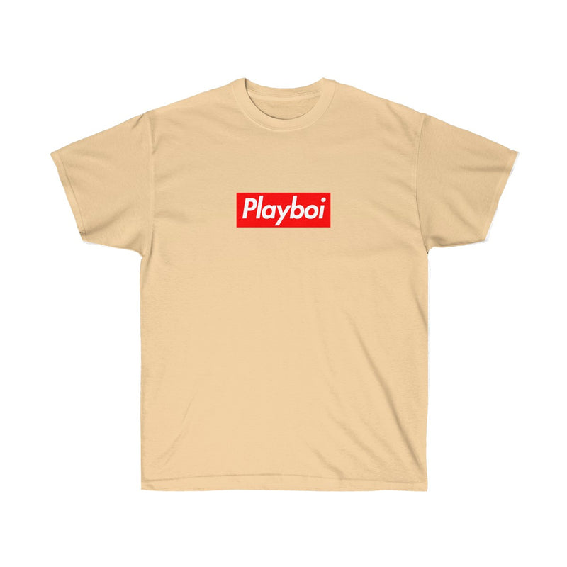 Playboi Red Box Logo Unisex Tee - Payboi Carti Inspired-Vegas Gold-L-Archethype