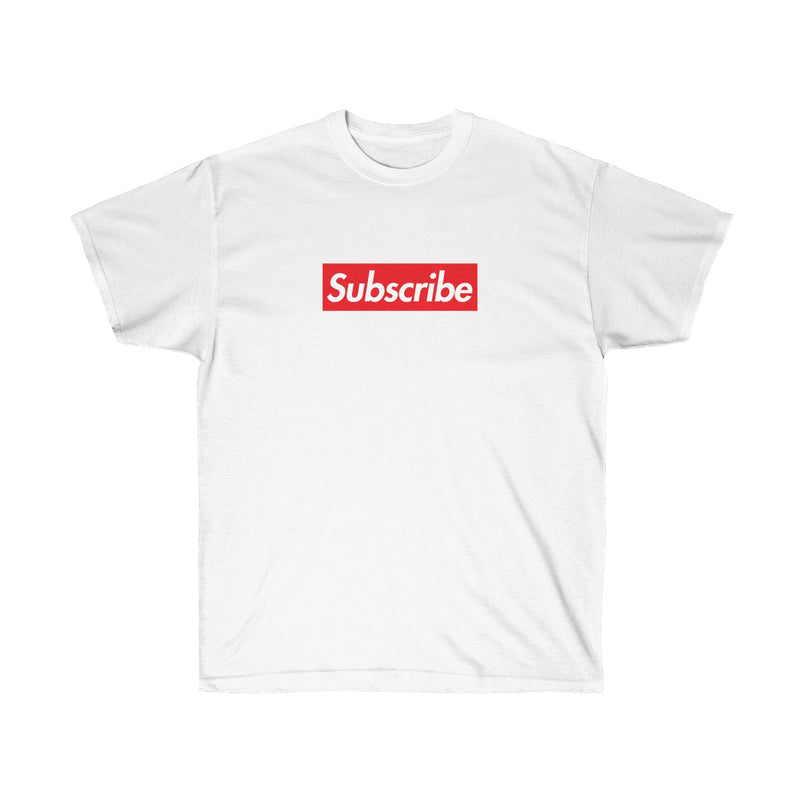 Subscribe Red Box Logo Unisex Ultra Cotton Tee - For Youtube channel owners-White-S-Archethype