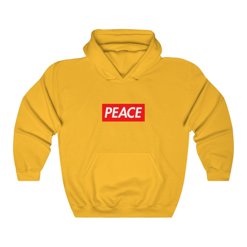 Peace Red Box Logo Heavy Blend™ Hoodie-Gold-S-Archethype