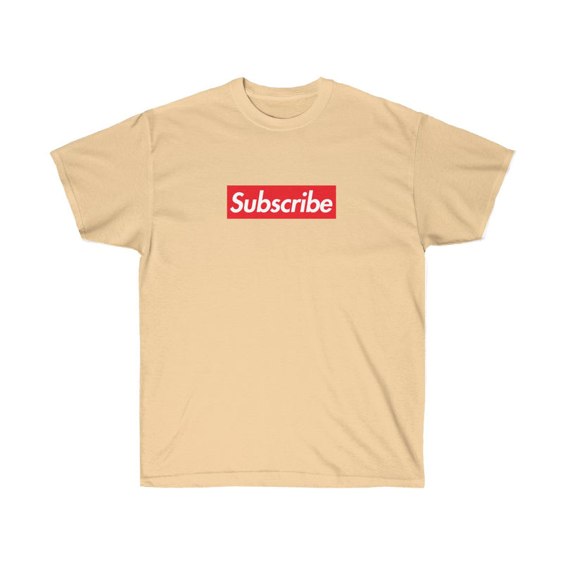 Subscribe Red Box Logo Unisex Ultra Cotton Tee - For Youtube channel owners-Vegas Gold-S-Archethype