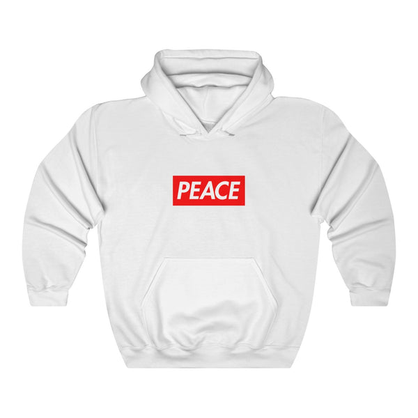 Peace Red Box Logo Heavy Blend™ Hoodie-White-S-Archethype