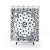 "White Bandana Shower Curtains-71"" x 74""-Archethype"