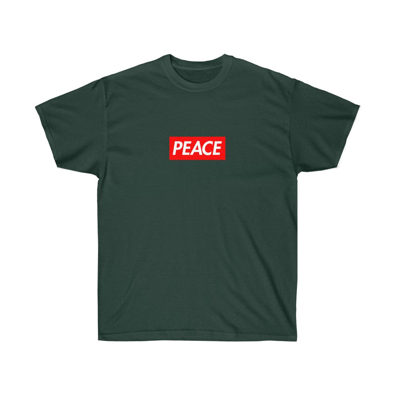 Peace Red Box Logo Tee-Forest Green-S-Archethype