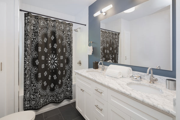 "Black Bandana Shower Curtains-71"" x 74""-Archethype"