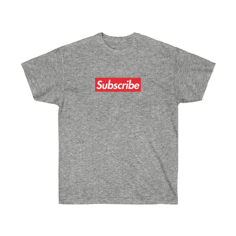 Subscribe Red Box Logo Unisex Ultra Cotton Tee - For Youtube channel owners-Sport Grey-S-Archethype