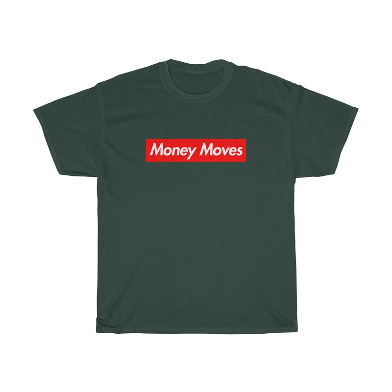 Money Moves Red Box Logo Tee-Forest Green-S-Archethype