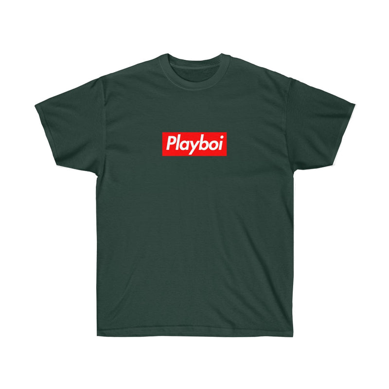 Playboi Red Box Logo Unisex Tee - Payboi Carti Inspired-Forest Green-S-Archethype