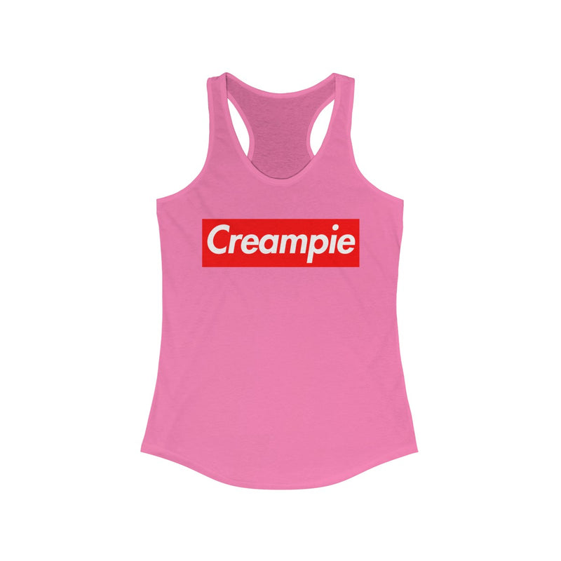 Creampie Red Box Logo Women's Ideal Racerback Tank-Solid Hot Pink-XS-Archethype