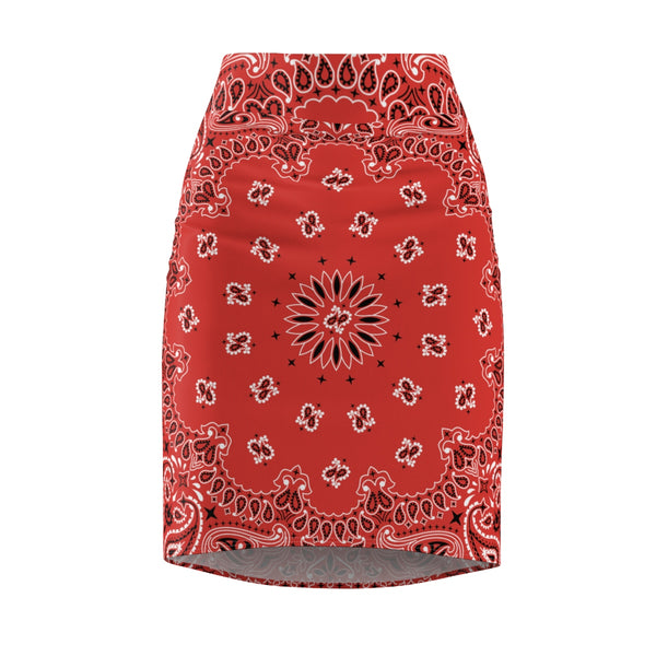 Red Bandana Women's Pencil Skirt-L-4 oz.-Archethype