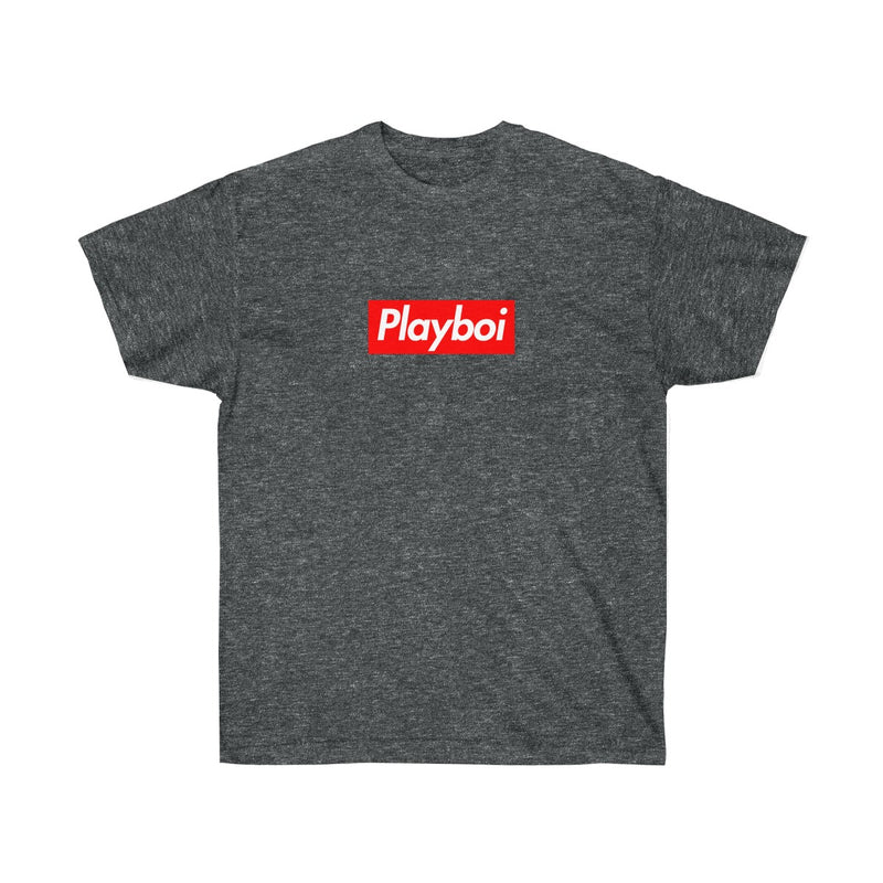 Playboi Red Box Logo Unisex Tee - Payboi Carti Inspired-Dark Heather-S-Archethype