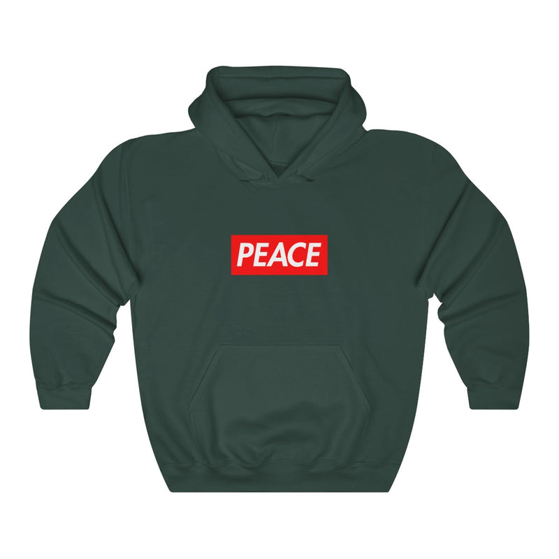 Peace Red Box Logo Heavy Blend™ Hoodie-Forest Green-S-Archethype