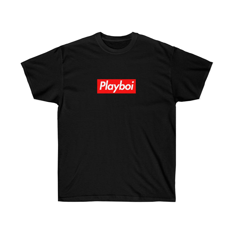 Playboi Red Box Logo Unisex Tee - Payboi Carti Inspired-Black-S-Archethype