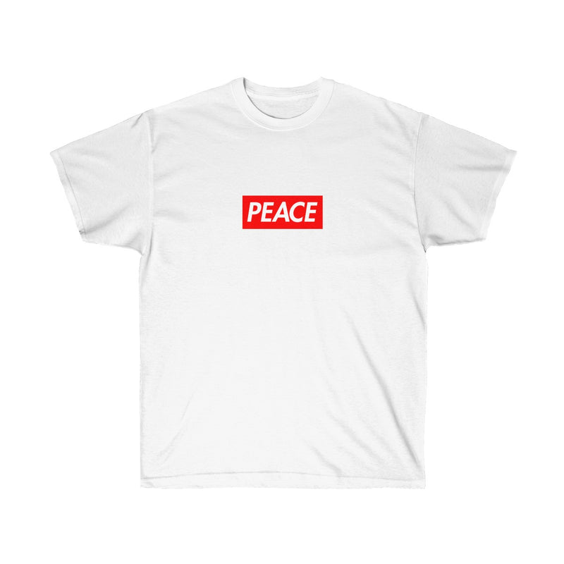 Peace Red Box Logo Tee-White-S-Archethype