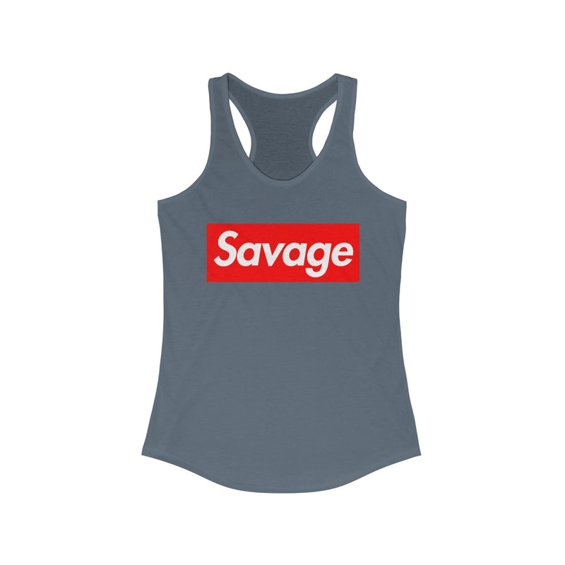 Savage Red Box Logo Women's Ideal Racerback Tank-Solid Indigo-XS-Archethype