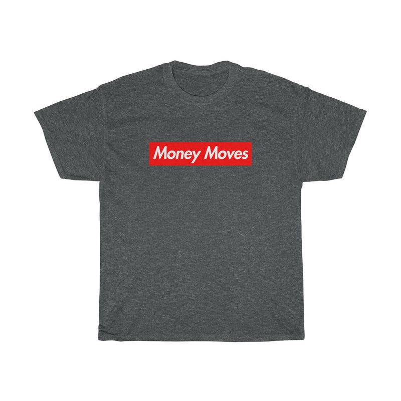 Money Moves Red Box Logo Tee-Dark Heather-S-Archethype