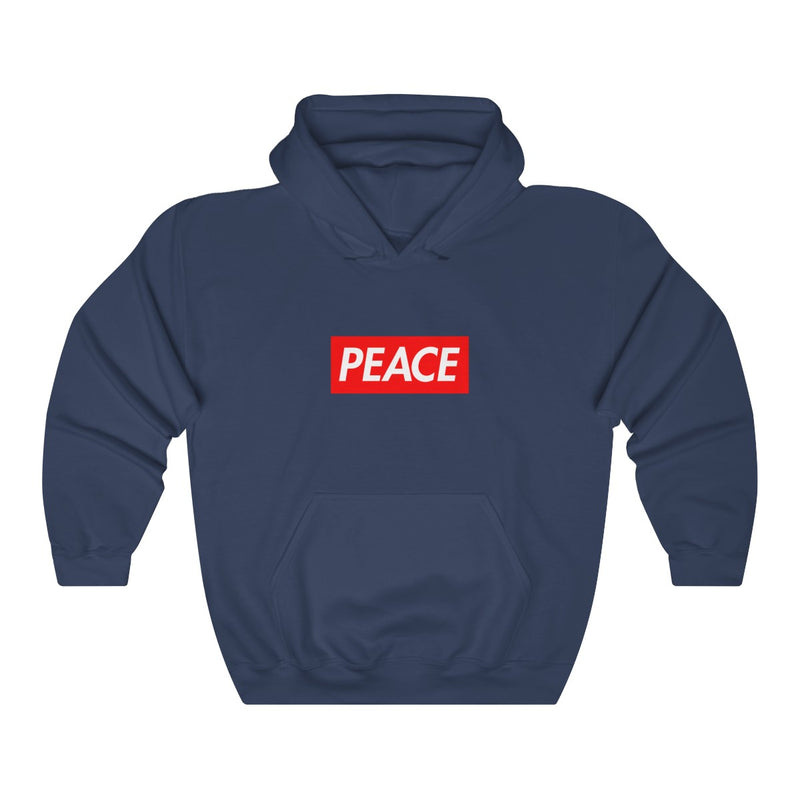 Peace Red Box Logo Heavy Blend™ Hoodie-Navy-S-Archethype