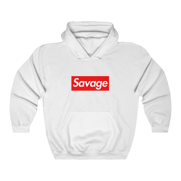 Savage red Box Logo Heavy Blend Hoodie-White-S-Archethype