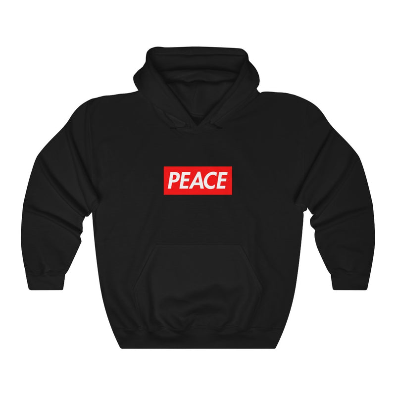 Peace Red Box Logo Heavy Blend™ Hoodie-Black-L-Archethype
