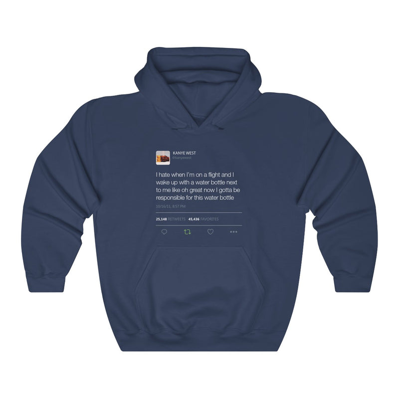 I Hate When I'm On A Flight And... - Kanye West Tweet Inspired Unisex Hooded Sweatshirt-Navy-S-Archethype