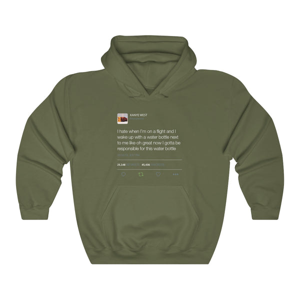 I Hate When I'm On A Flight And... - Kanye West Tweet Inspired Unisex Hooded Sweatshirt-Military Green-S-Archethype