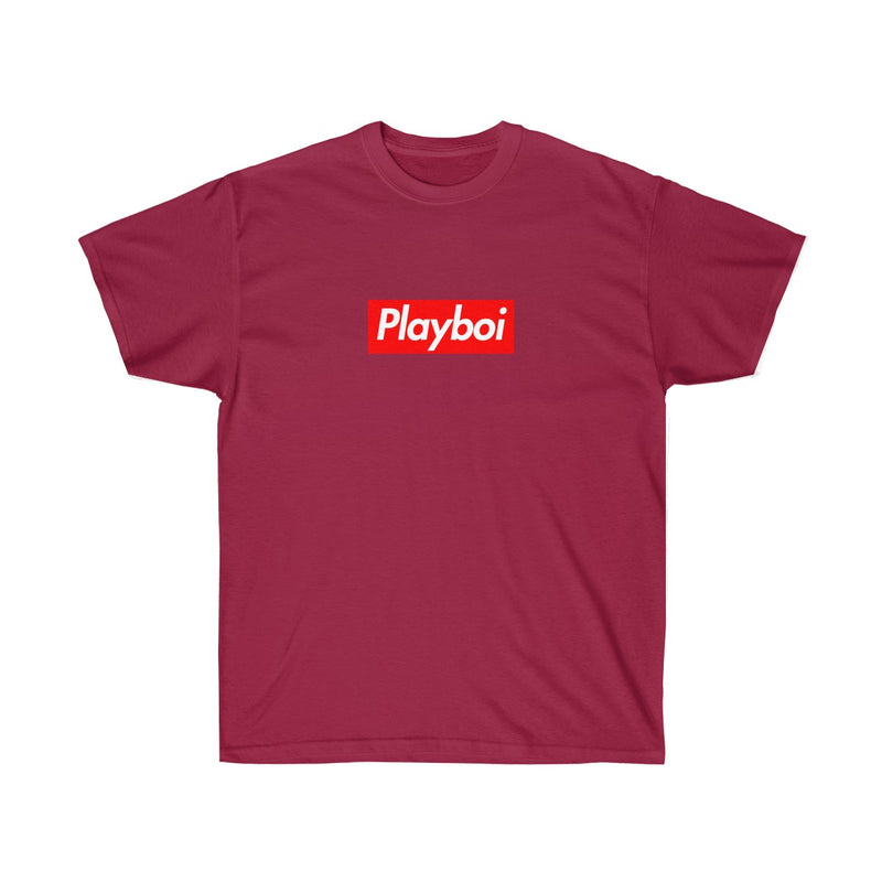 Playboi Red Box Logo Unisex Tee - Payboi Carti Inspired-Cardinal Red-S-Archethype
