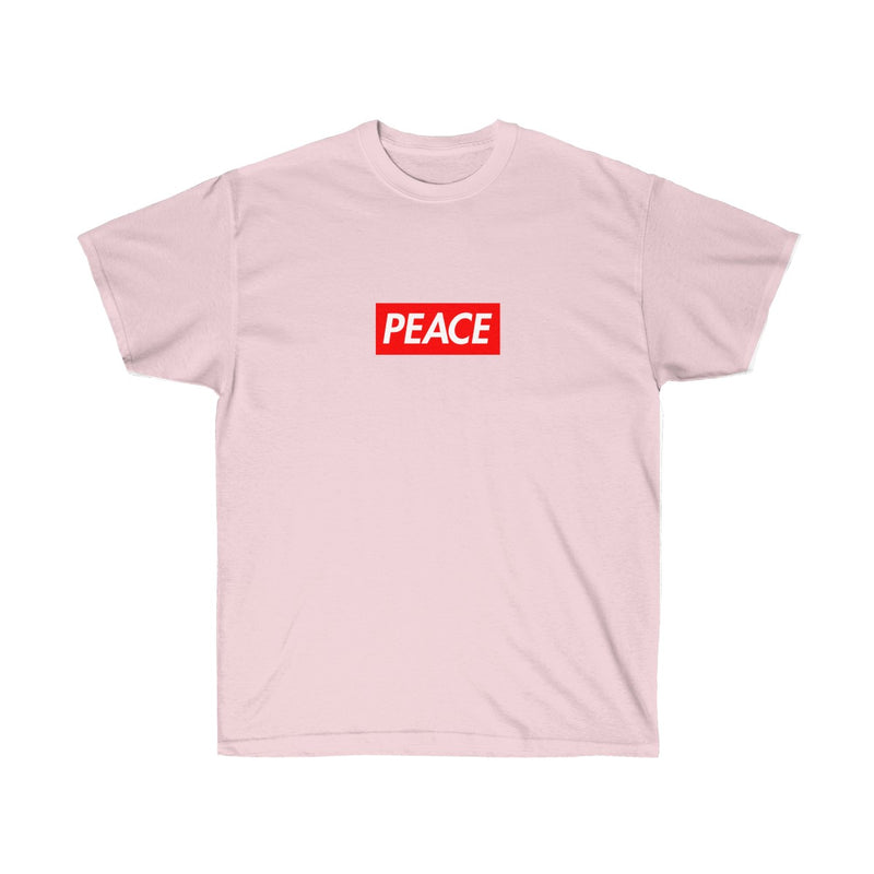 Peace Red Box Logo Tee-Light Pink-S-Archethype