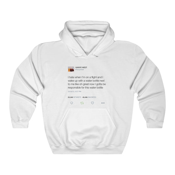 I Hate When I'm On A Flight And...- Kanye West Tweet Hoodie-White-L-Archethype