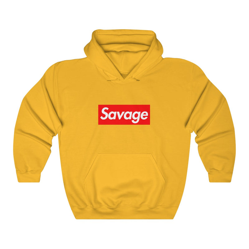 Savage red Box Logo Heavy Blend Hoodie-Gold-S-Archethype