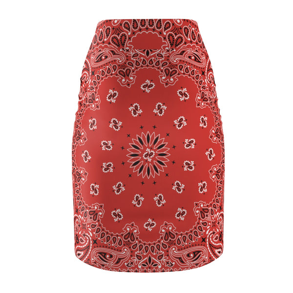 Red Bandana Women's Pencil Skirt-Archethype