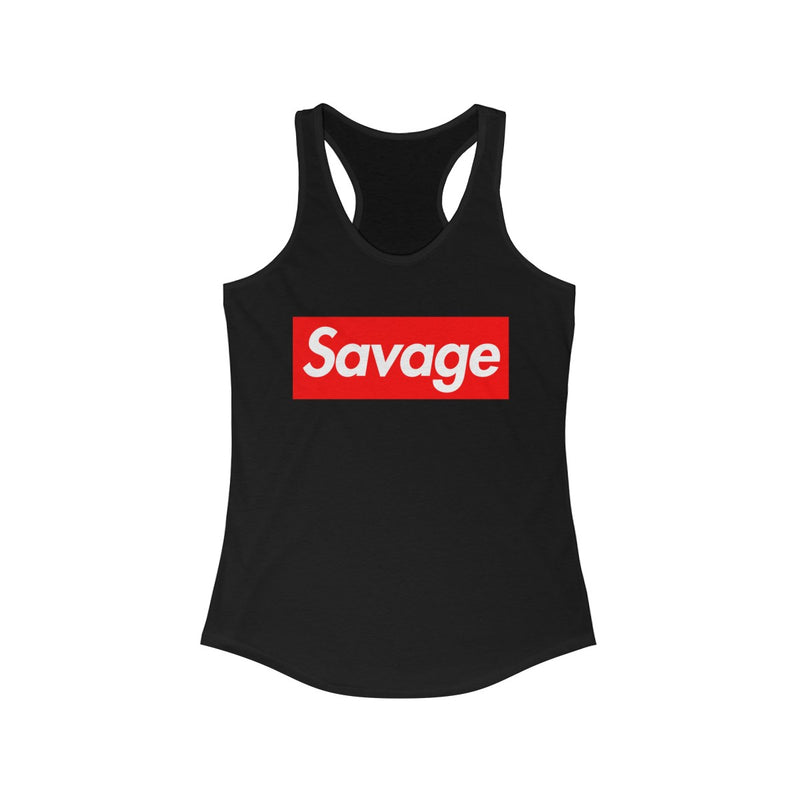Savage Red Box Logo Women's Ideal Racerback Tank-Solid Black-XS-Archethype