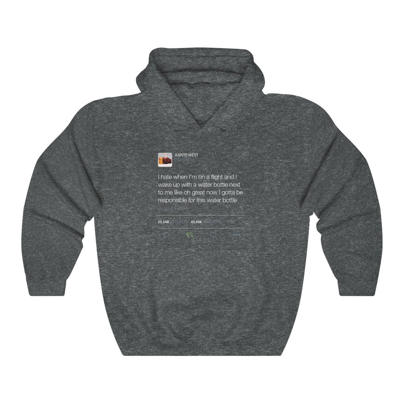 I Hate When I'm On A Flight And... - Kanye West Tweet Inspired Unisex Hooded Sweatshirt-Dark Heather-S-Archethype