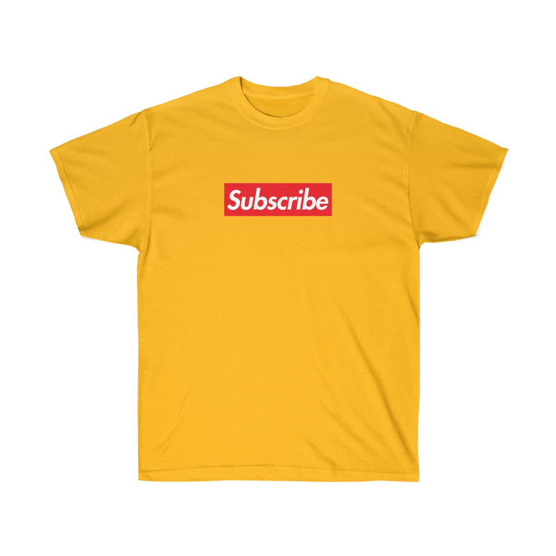 Subscribe Red Box Logo Unisex Ultra Cotton Tee - For Youtube channel owners-Gold-S-Archethype