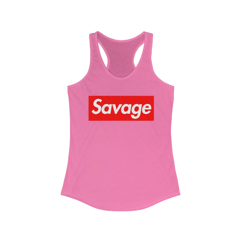 Savage Red Box Logo Women's Ideal Racerback Tank-Solid Hot Pink-XS-Archethype