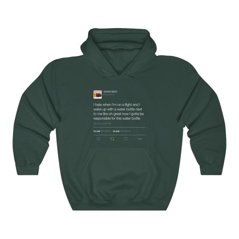 I Hate When I'm On A Flight And... - Kanye West Tweet Inspired Unisex Hooded Sweatshirt-Forest Green-S-Archethype