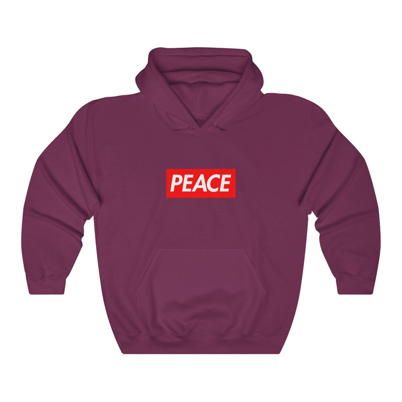 Peace Red Box Logo Heavy Blend™ Hoodie-Maroon-S-Archethype