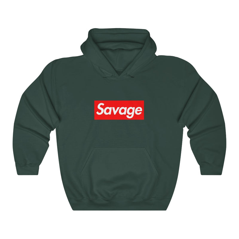 Savage red Box Logo Heavy Blend Hoodie-Forest Green-S-Archethype