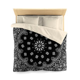 Black Bandana Microfiber Duvet Cover-Queen-Cream-Archethype