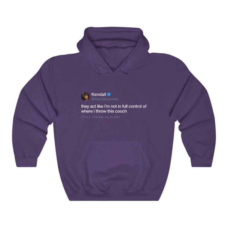 Kendall Jenner They act like i'm not in full control of where i throw this cooch Tweet Hoodie-S-Purple-Archethype