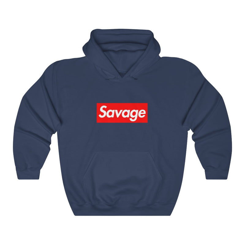 Savage red Box Logo Heavy Blend Hoodie-Navy-S-Archethype