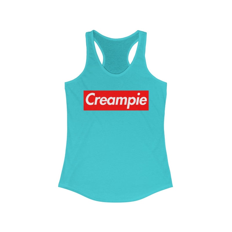 Creampie Red Box Logo Women's Ideal Racerback Tank-Solid Tahiti Blue-XS-Archethype