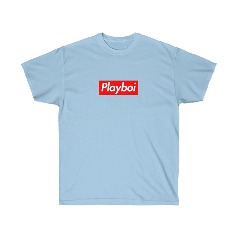 Playboi Red Box Logo Unisex Tee - Payboi Carti Inspired-Light Blue-S-Archethype