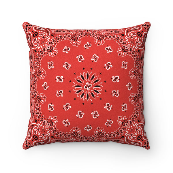 "Red Bandana Faux Suede Square Pillow-14"" x 14""-Archethype"
