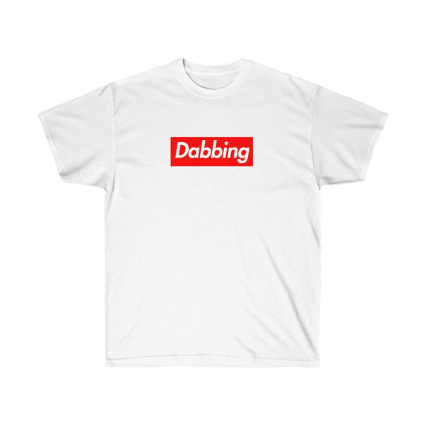 Dabbing Red Box Logo Tee - To Dab All Day-White-S-Archethype