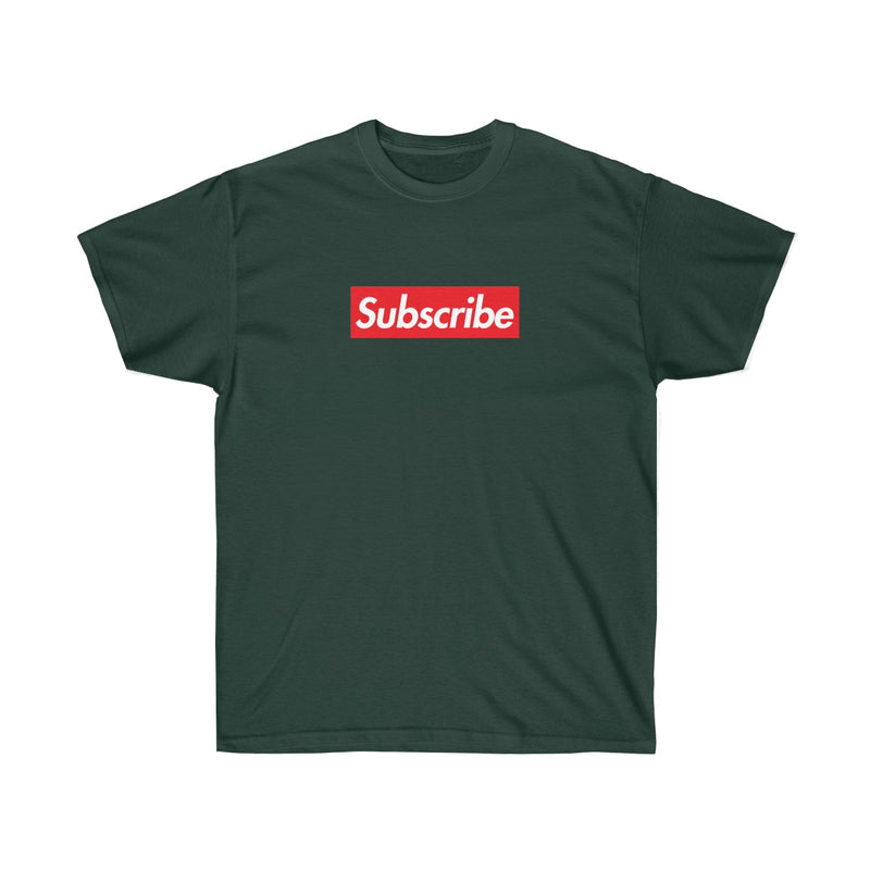Subscribe Red Box Logo Unisex Ultra Cotton Tee - For Youtube channel owners-Forest Green-S-Archethype