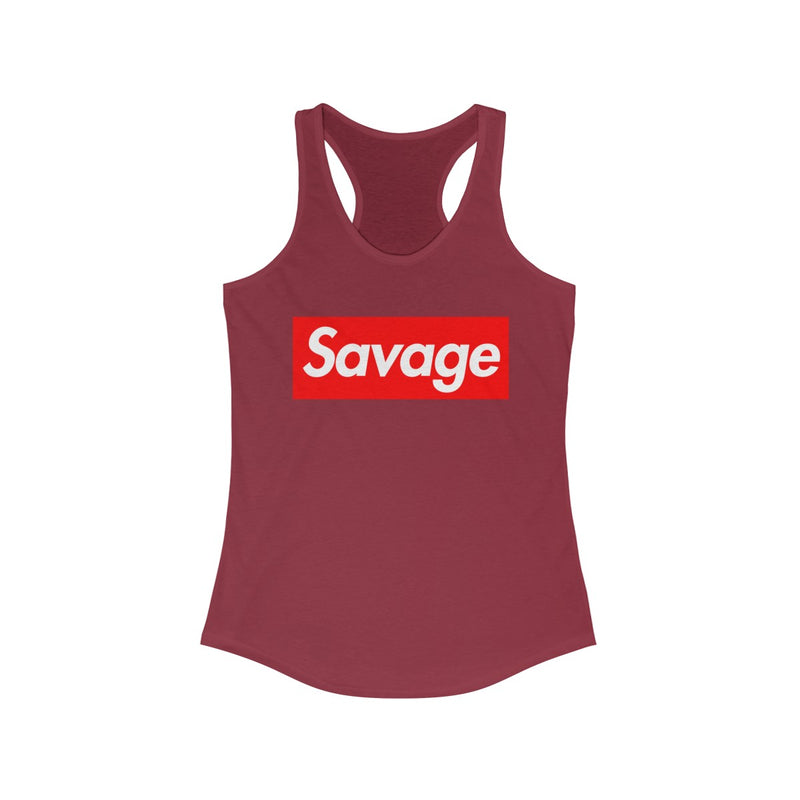 Savage Red Box Logo Women's Ideal Racerback Tank-Solid Scarlet-XS-Archethype
