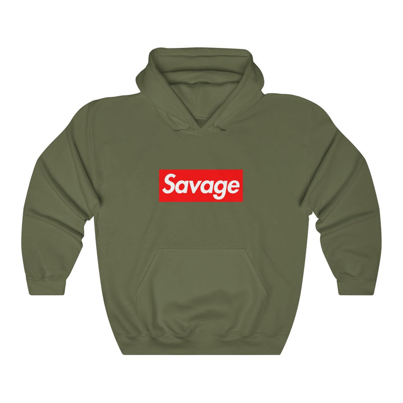 Savage red Box Logo Heavy Blend Hoodie-Military Green-S-Archethype